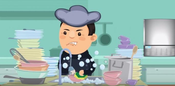 Lavadora de vajilla en negocios de alimentos